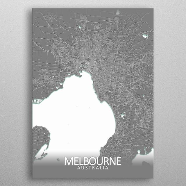 Melbourne, Australia, grey city map metal poster