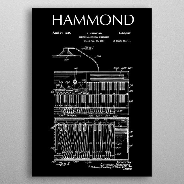 1934 Hammond Organ,1934-Retro-Patent-keyboards-Music-Rock,Blues,Jazz, metal poster