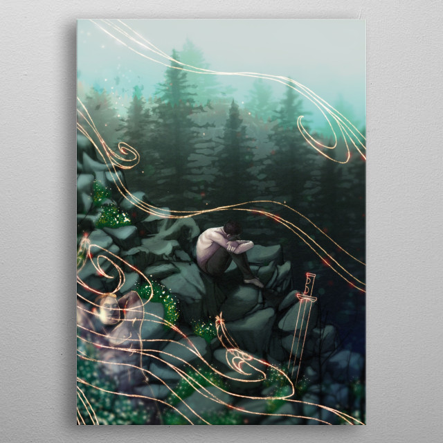 An illustration of a male sitting on the side of a rocky face in the middle of the forest. metal poster