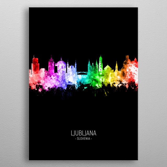 Watercolor art print of the skyline of Ljubljana, Slovenia metal poster