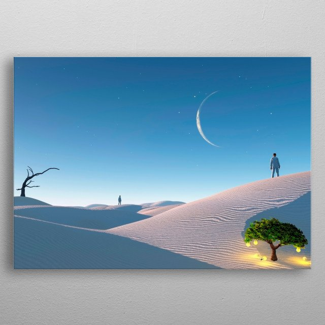 Man in distance in surreal white desert. Tree with light bulbs symbolizes ideas. metal poster