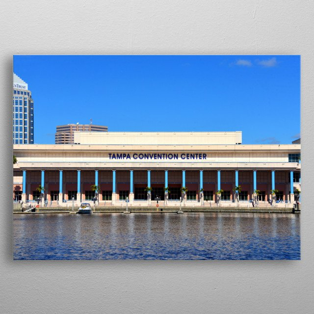 Landscape photography of the Tampa Convention Center in downtown Tampa Florida.  metal poster