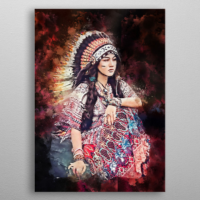 a model of a beautiful woman with indian or apache costum metal poster