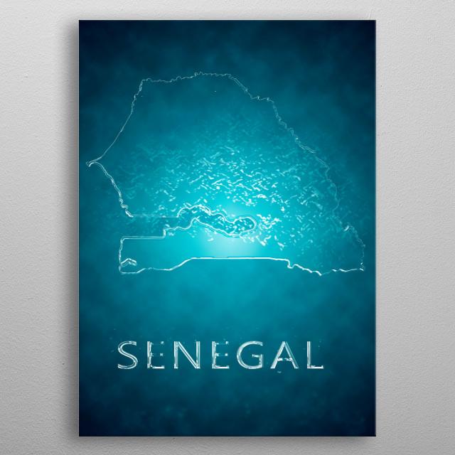 A map of Senegal  metal poster