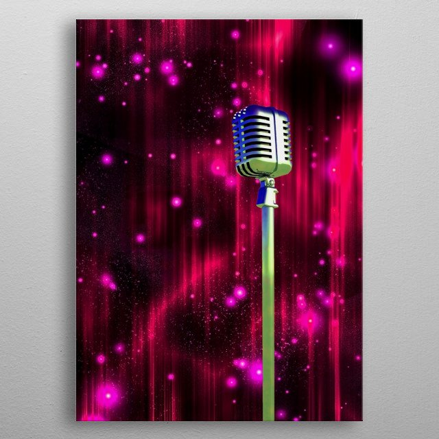 Classic Microphone with Colorful Curtains with Sparks metal poster