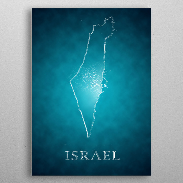 A map of Israel metal poster