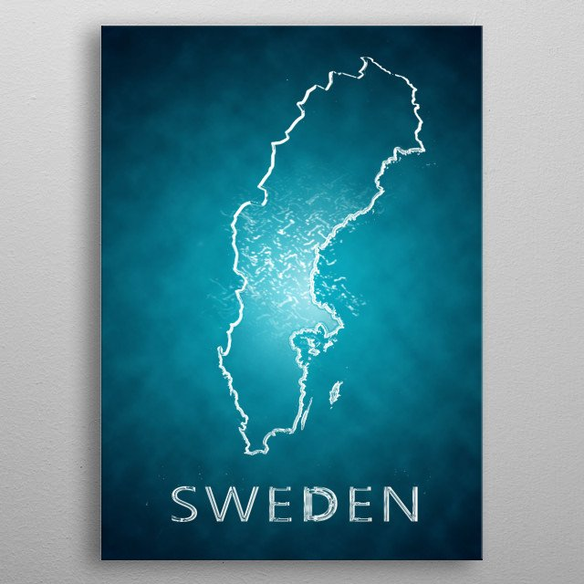 A map of Sweden  metal poster