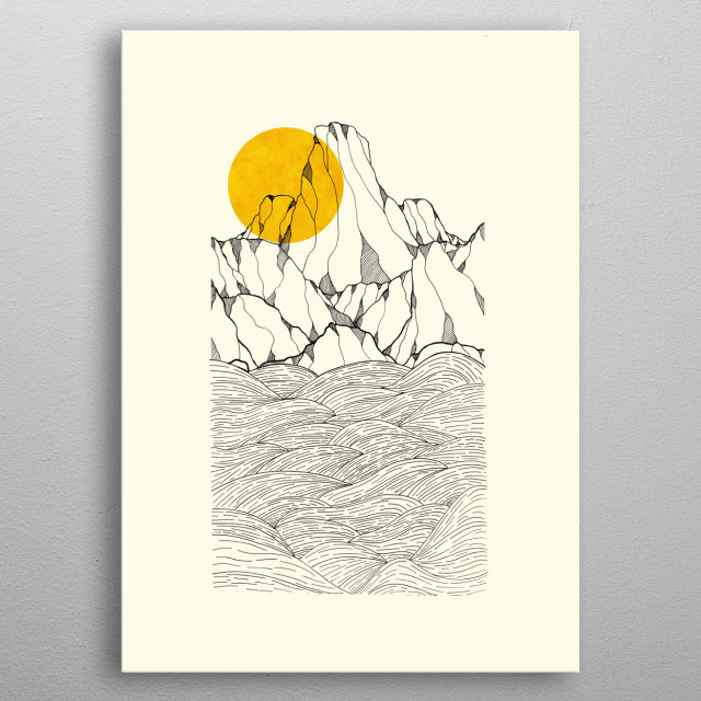 Sun and sea cliffs is a great simple yet detailed illustration by Swade. metal poster