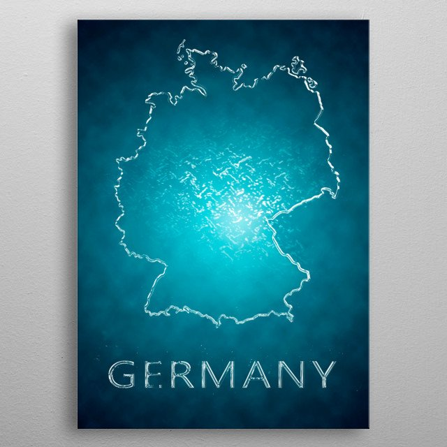 A map of Germany  metal poster