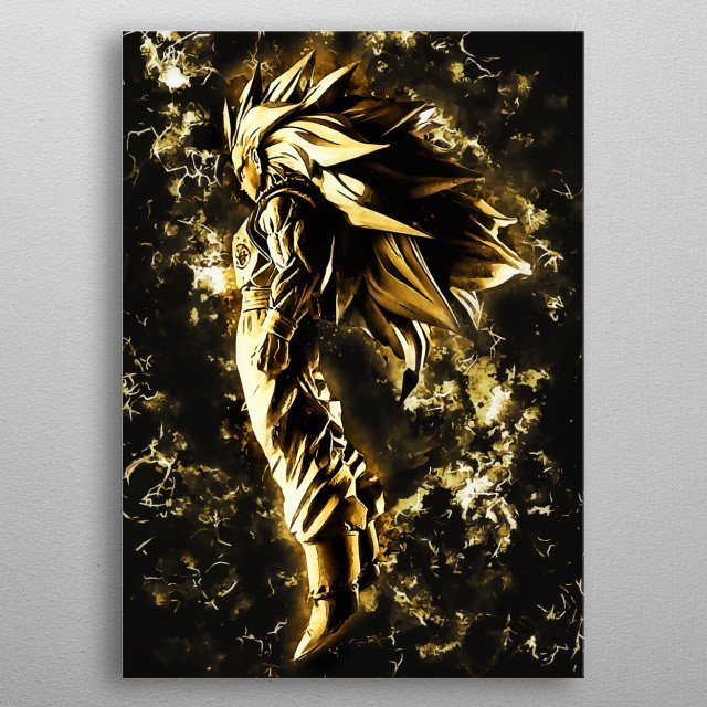 goku ssj3 gold metal poster