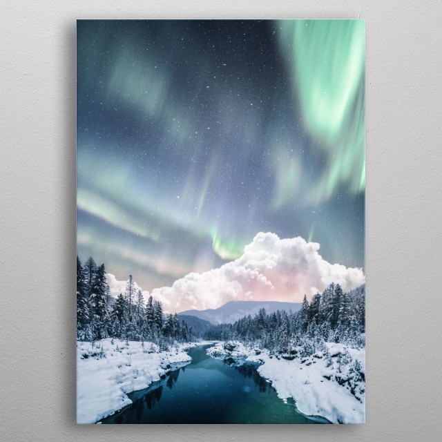 Aurora over the river  metal poster