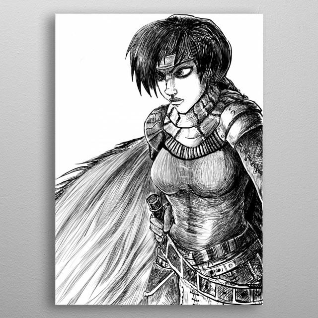Illustration of warrior woman named Lona metal poster