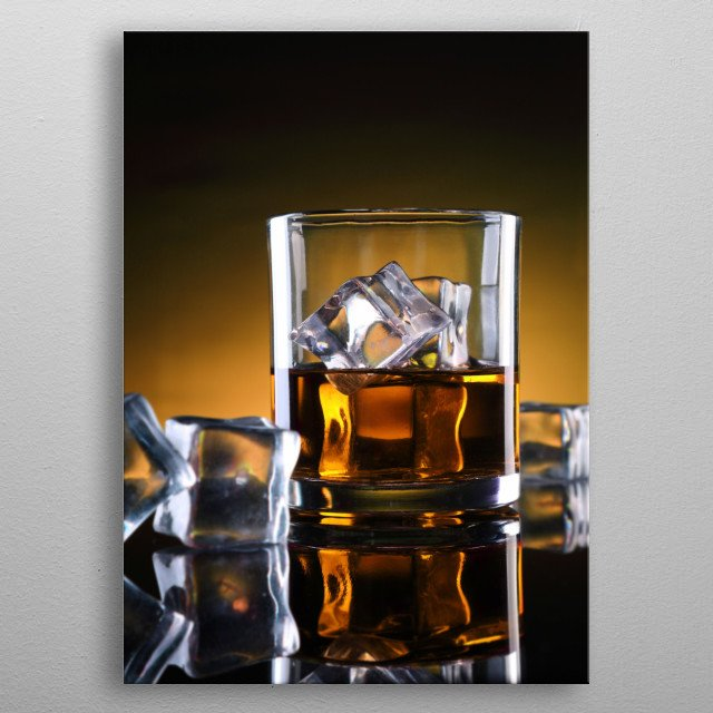 A Whisky Glass  with Ice Cubes metal poster