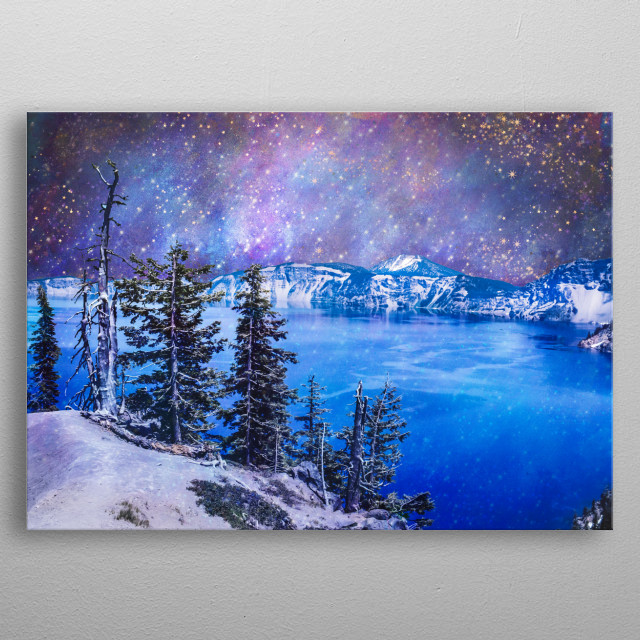 A surreal scene created from film photography and a starry sky and nebula. Set at Crater Lake National Park in Oregon. metal poster