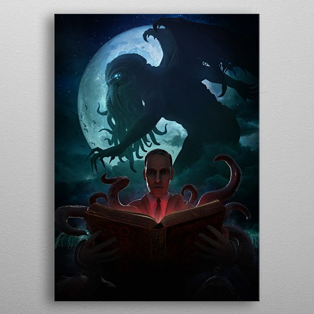 H. P. Lovecraft's Cthulhu Invocation painting. metal poster