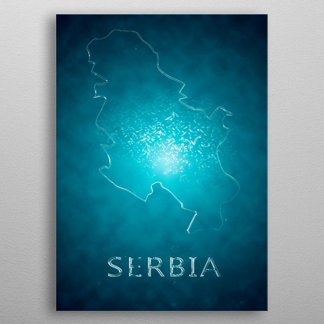 A map of Serbia  metal poster