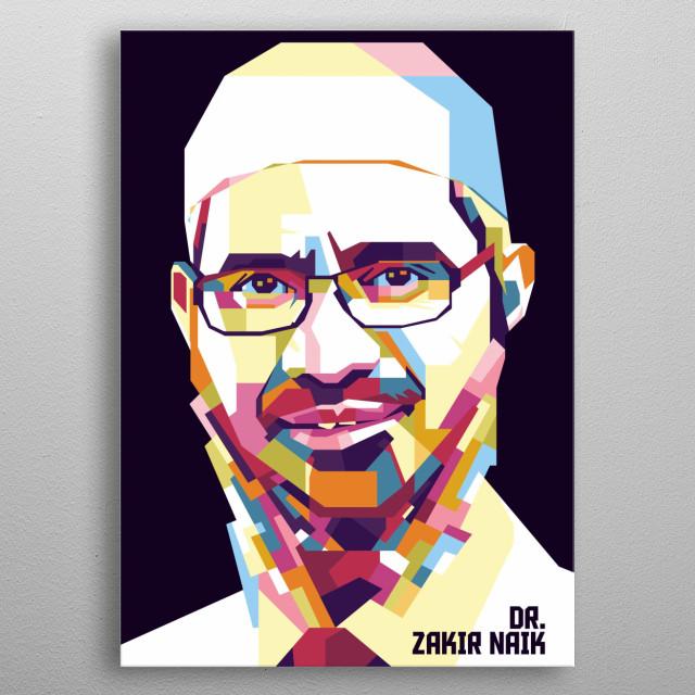 Dr. Zakir Naik in WPAP Style metal poster