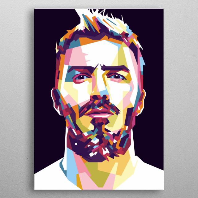 David Beckham in WPAP Style metal poster