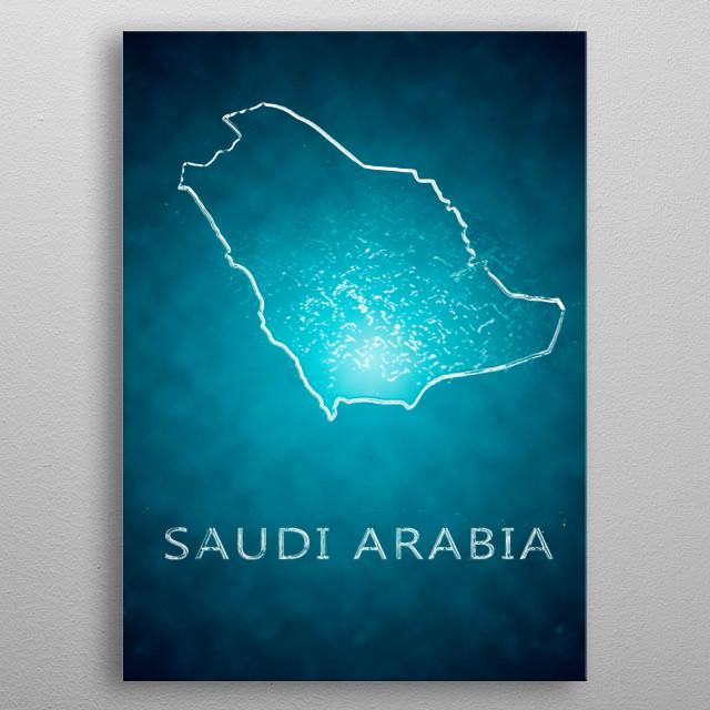 A map of Saudi Arabia  metal poster