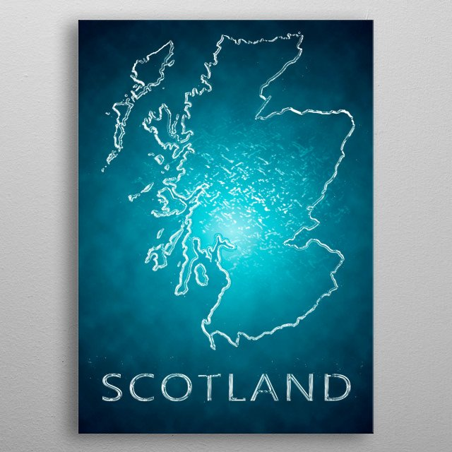 A map of Scotland  metal poster
