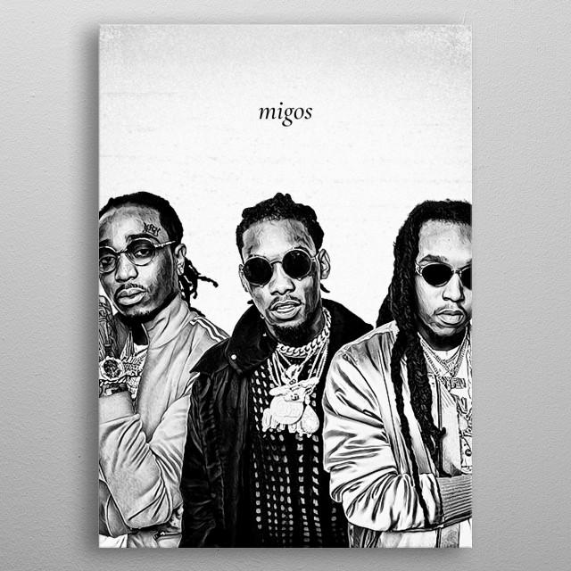 Illustration of Migos metal poster