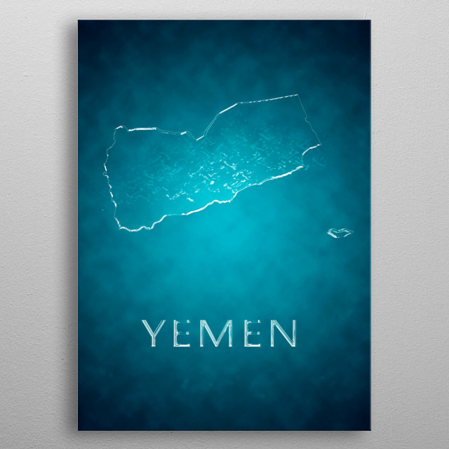 A map Of Yemen metal poster