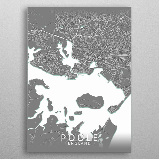 Poole, England, grey city map metal poster