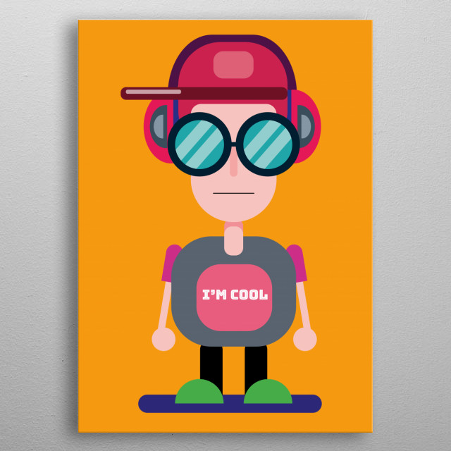 Illustration of a cool boy. Appropriate for decoration. Nice colours metal poster