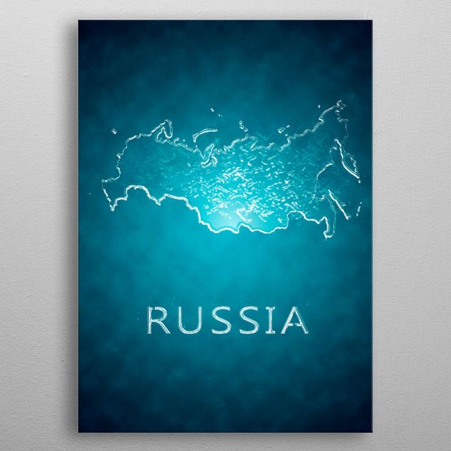 A map of Russia  metal poster