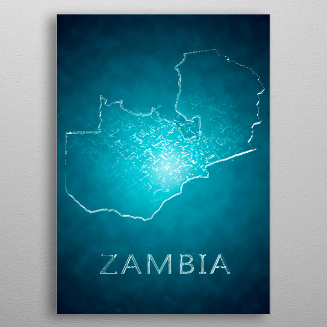 A map of Zambia  metal poster