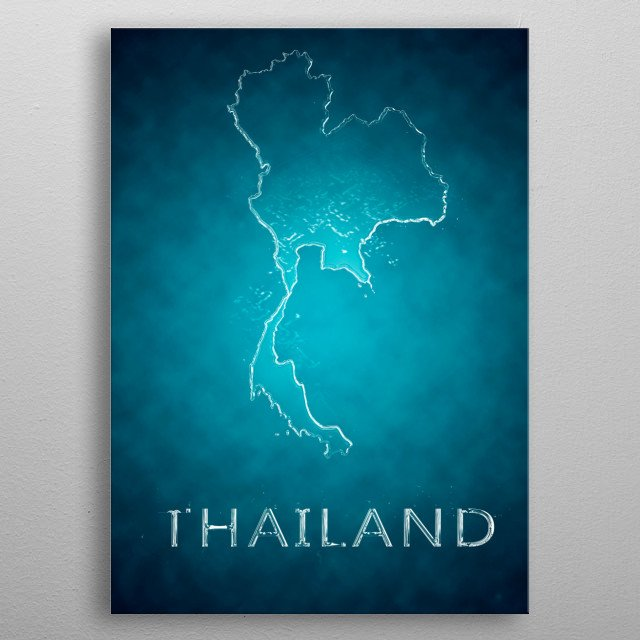 A map of Thailand  metal poster