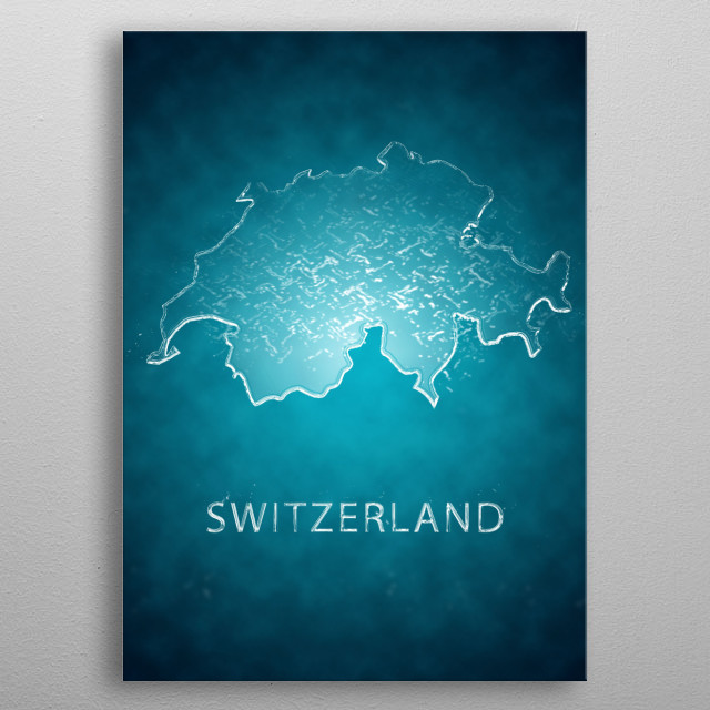 A map of Switzerland  metal poster