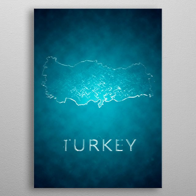 A map of Turkey  metal poster