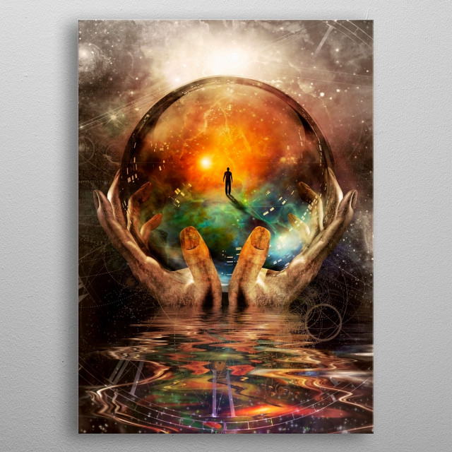 Glass ball in hands with abstract background metal poster