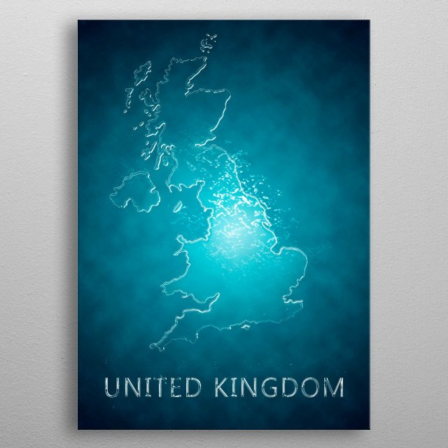 A map of United Kingdom  metal poster