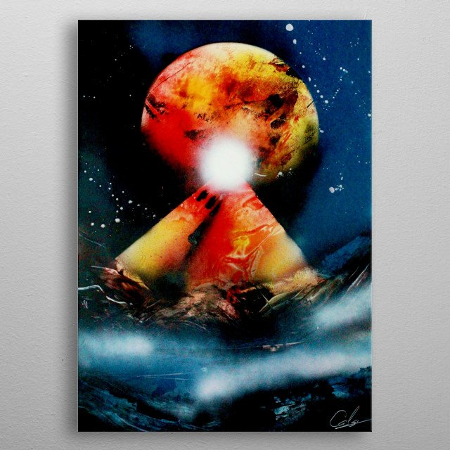 Spray Paint Art of a light shining on top of a structure in front of a giant planet in the background. metal poster