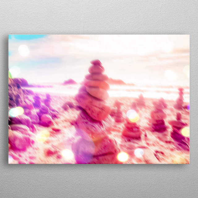 stone balancing at the beach with summer sunlight metal poster