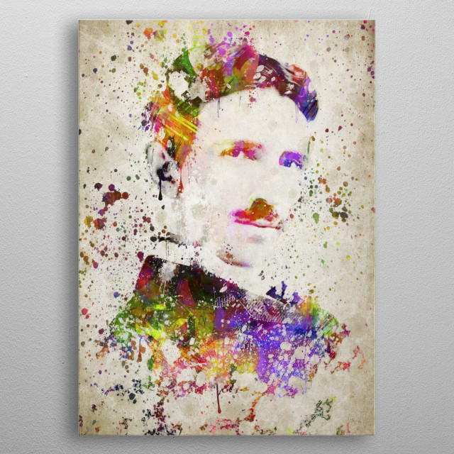 Colorful digital drawing of Nikola Tesla, a Serbian American inventor.  metal poster