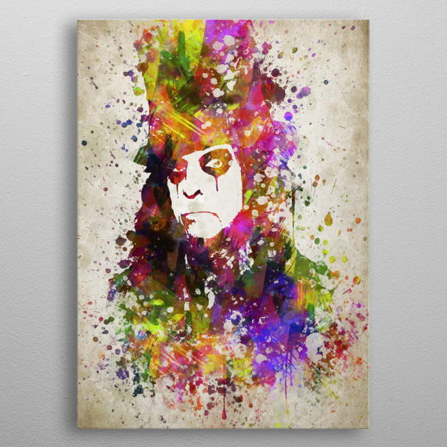 Colorful digital drawing of Alice Cooper, an American rock singer, songwriter, and musician.  metal poster