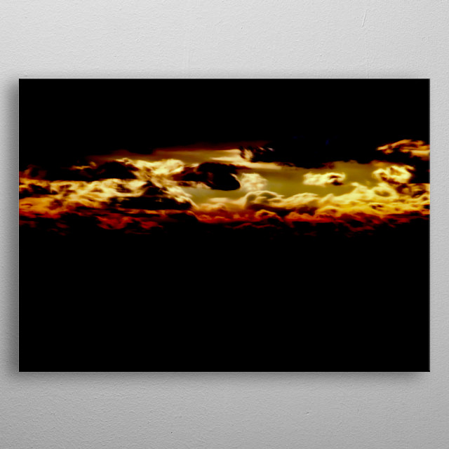 abstract sunset on beach and sea metal poster