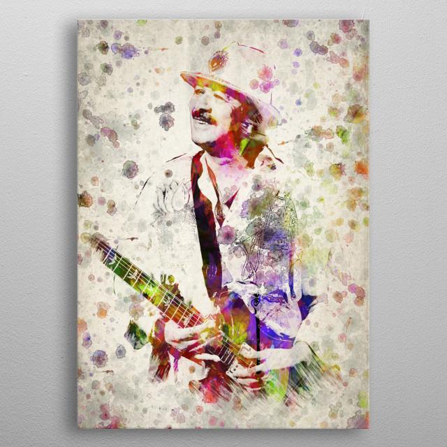Colorful Digital drawing of Carlos Santana a Mexican and American musician.  metal poster