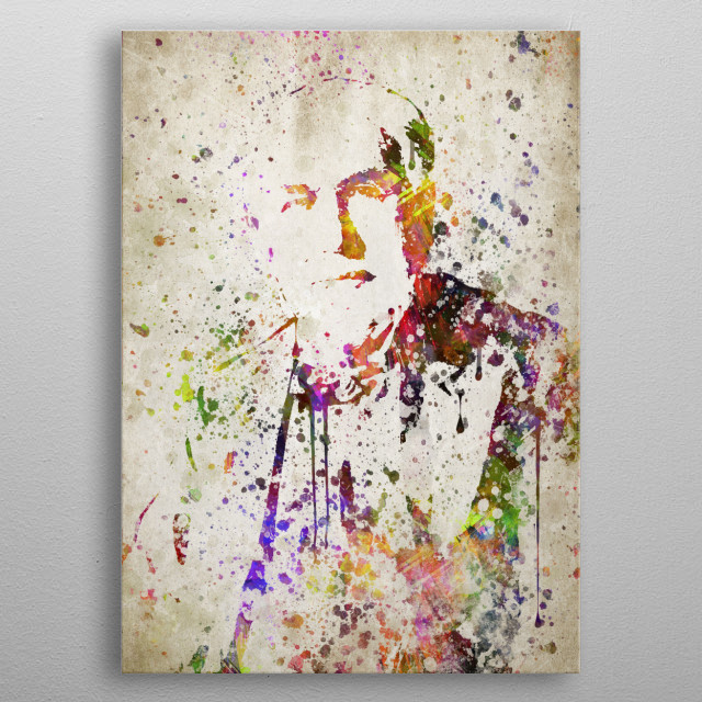 Colorful digital drawing of Thomas Edison, a American inventor and businessman. metal poster