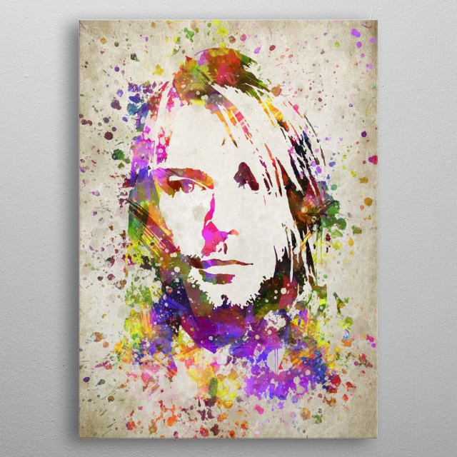 Colorful digital drawing of Kurt Cobainlan American musician who was the lead singer, guitarist, songwriter of the grunge band Nirvana.  metal poster