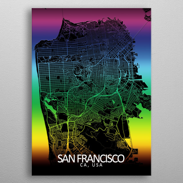 San Francisco, CA, USA, rainbow city map metal poster