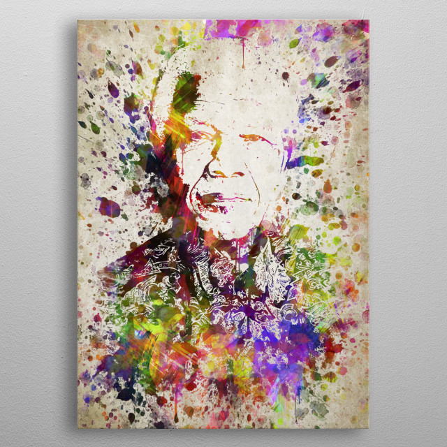 Colorful digital drawing of Nelson Mandela, a anti-apartheid revolutionary, politician who served as President of South Africa.  metal poster