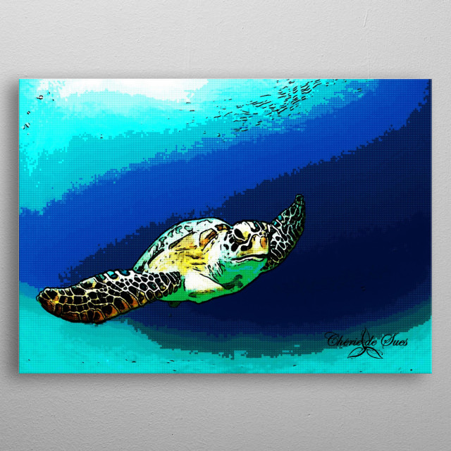 An underwater shot of a Hawaiian sea turtle from Oahu, digitally enhanced. metal poster
