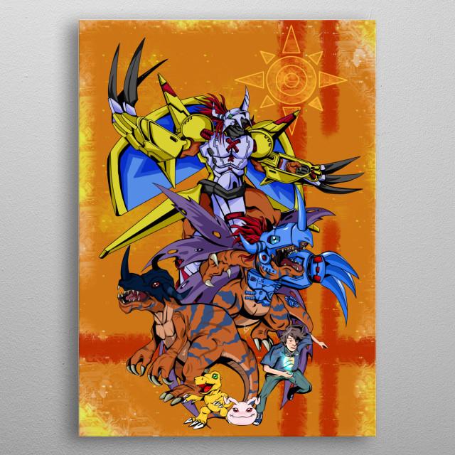 Complete Evolution of Agumon: Koromon, Agumon, Greymon, Metalgreymon, Wargreymon metal poster
