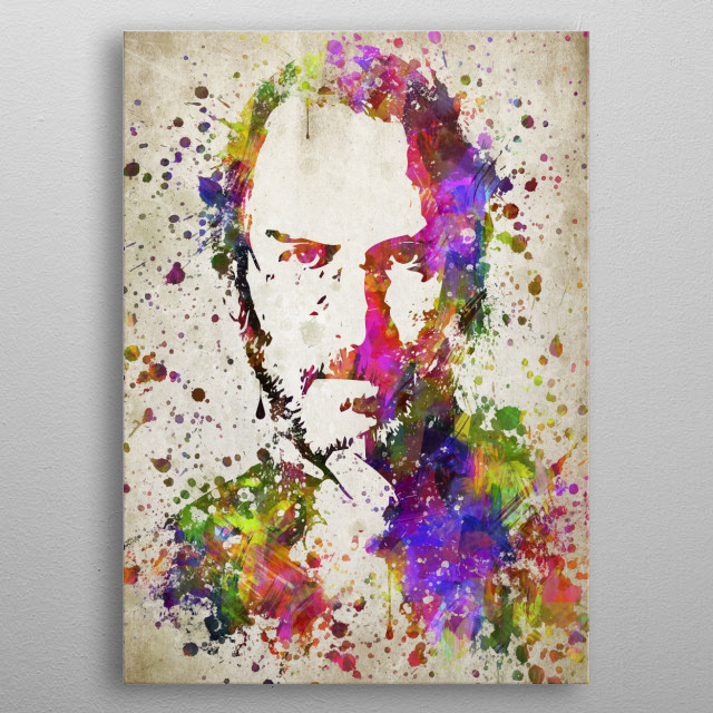 Colorful digital drawing of Steve Jobs, an American entrepreneur, marketer, and inventor, who was the co-founder, chairman, and CEO of Apple metal poster
