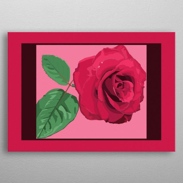 illustration of rose metal poster