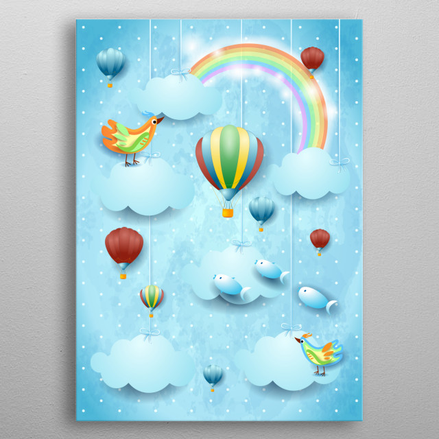 Surreal sky with balloons, bird and flying fisches. Fantasy illustration metal poster